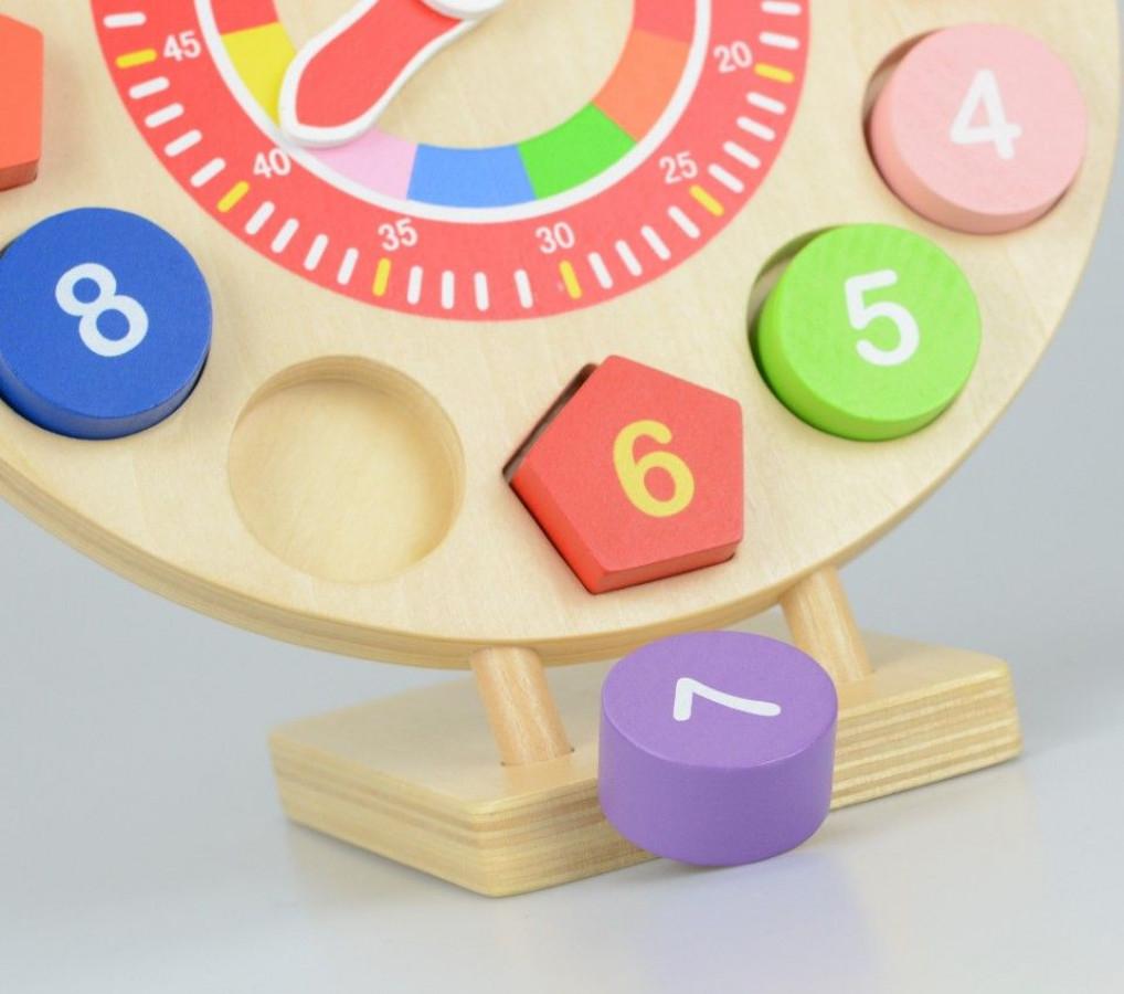 Ceas din lemn forme si numere, 14 piese 2