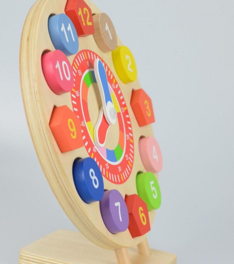Ceas din lemn forme si numere, 14 piese 3
