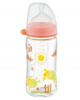 Biberon sticla cu gat larg, 240 ml, tetina silicon pt lapte, nr 1, nip 35064
