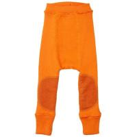 Pantaloni dublati Manymonths Patches lână merinos - Festive Orange 3-12m