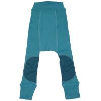 Pantaloni dublati Manymonths Patches lână merinos - Royal Turquoise  3-12m