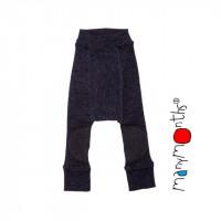 Pantaloni dublati Manymonths Patches lână merinos - Foggy Black  3-12m