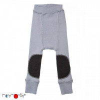 Pantaloni dublati Manymonths Patches lână merinos - Bright Silver 3-12m