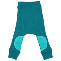 Pantaloni dublati Manymonths Patches lână merinos - Ocean Wave 3-12m