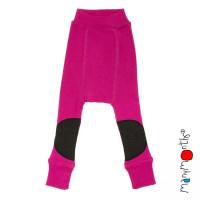 Pantaloni dublati Manymonths Patches lână merinos - Lilac Rose 3-12m