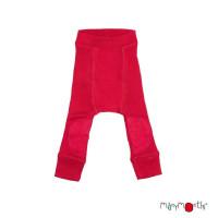 Pantaloni dublati Manymonths Patches lână merinos - Cranberry Nectar 6m-2y