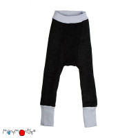 Pantaloni dublați Manymonths lână merinos  Bright Silver/Foggy Black 3-9m