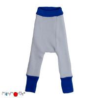 Pantaloni dublați Manymonths lână merinos  Jewel Blue/Bright Silver 3-9m