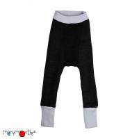 Pantaloni dublați Manymonths lână merinos  Bright Silver/Foggy Black 6-12/18m