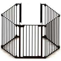 Tarc de joaca hexagonal modular cu saltea Noma, metal negru, N94030